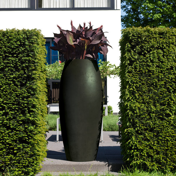sculpture of planters with flowers
